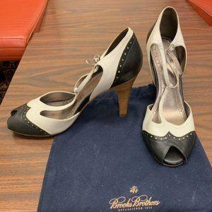Brooks Brothers Black & White Peep Toe Heels